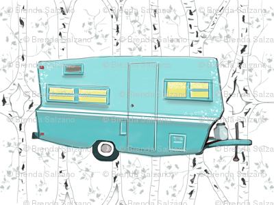 Vintage Travel Trailer in Aqua