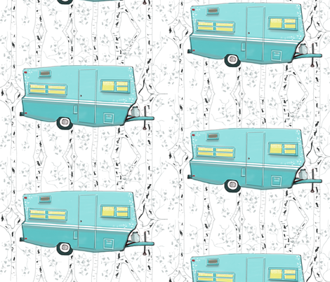 Vintage Travel Trailer in Aqua  fabric by salzanos on Spoonflower - custom fabric