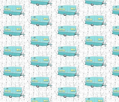 Vintage Travel Trailer in Aqua  fabric by salzanos on Spoonflower - custom fabric