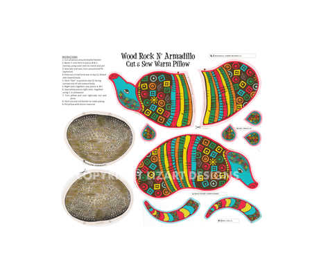 Wood Rock N Armadillo Cut & Sew warm Pillow fabric by lizartelier on Spoonflower - custom fabric