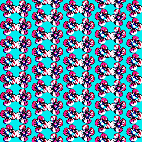 pink flowers in blue 1 fabric by dk_designs on Spoonflower - custom fabric