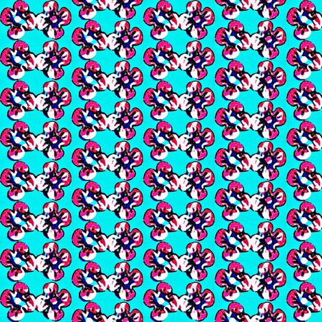 pink flowers in blue 1 fabric by dk_designs on Spoonflower - custom fabric