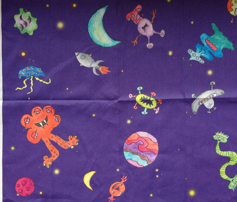 Lost in space fabric hsarik spoonflower for Space pattern fabric