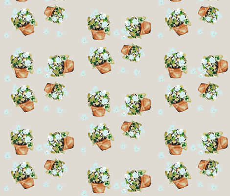 Petunias Blue fabric by karenharveycox on Spoonflower - custom fabric