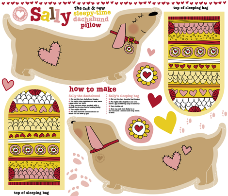 Sally the dachshund pillow with sleeping bag fat  quarter fabric by laurawrightstudio on Spoonflower - custom fabric