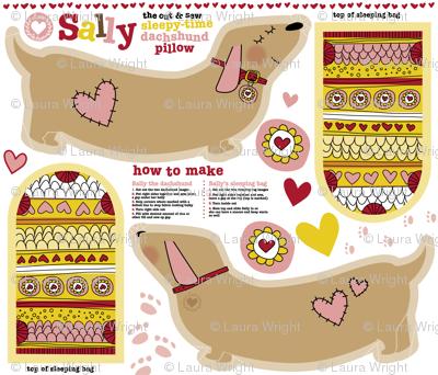 Sally the dachshund pillow with sleeping bag