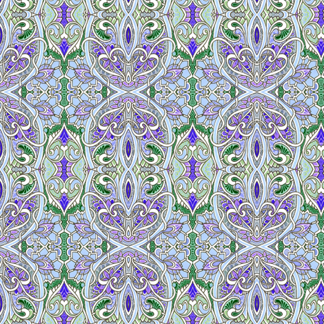 Nouveau Boudoir (in blue and lavender) fabric by edsel2084 on Spoonflower - custom fabric