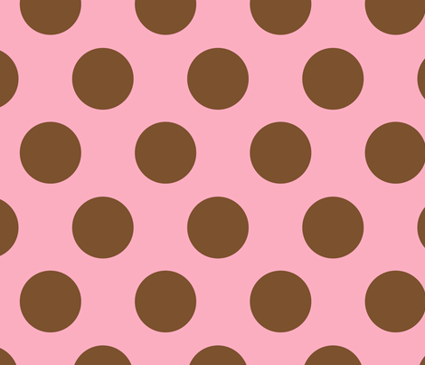 JUMBO POLKA DOTS PINK & BROWN fabric by juneblossom on Spoonflower - custom fabric