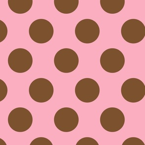 JUMBO POLKA DOTS PINK & BROWN