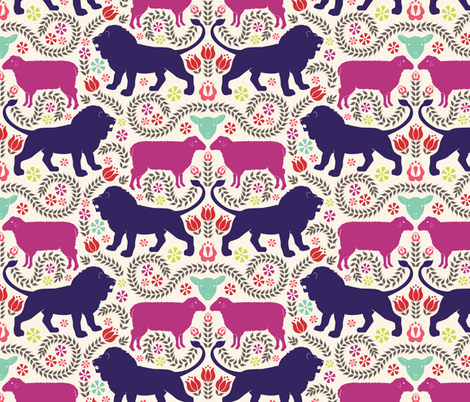 of lambs and lions fabric by natasha_k_ on Spoonflower - custom fabric