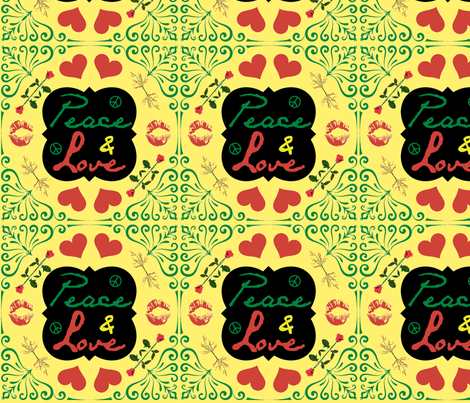 Peace & Love Khaki Back fabric by ronnyjohnson on Spoonflower - custom fabric