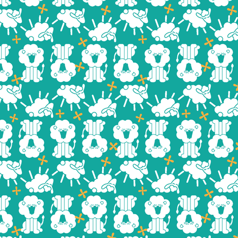 Roarin' N Gambolin' - Blue fabric by ravenous on Spoonflower - custom fabric