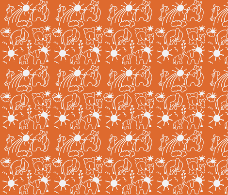 You Are My Sunshine Elephants in Orange  fabric by kbexquisites on Spoonflower - custom fabric