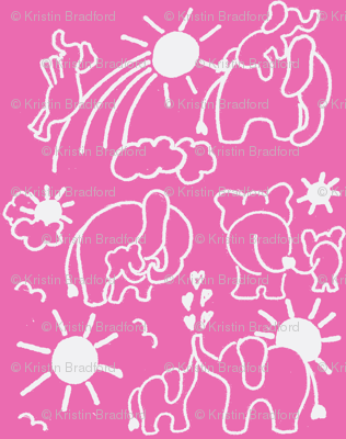 You Are My Sunshine Elephants in Hot Pink