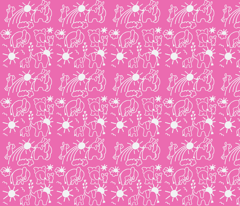 You Are My Sunshine Elephants in Hot Pink fabric by kbexquisites on Spoonflower - custom fabric