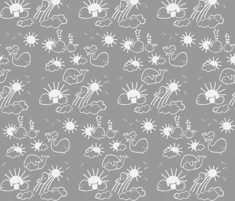 LARGE SCALE You Are My Sunshine Whales in Grey and White fabric by kbexquisites on Spoonflower - custom fabric