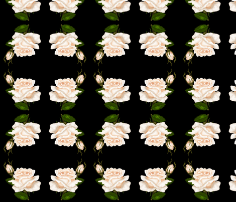 Pale Roses on Black fabric by ravynscache on Spoonflower - custom fabric