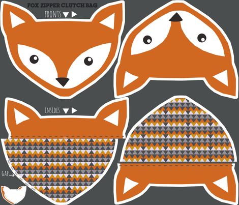 fox clutch zipper bag - cut and sew pattern fabric by katarina on Spoonflower - custom fabric