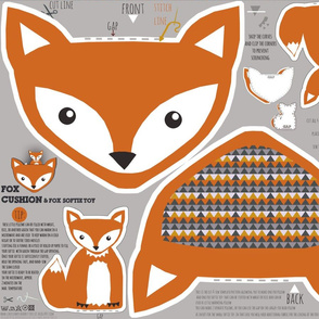 fox pillow and fox softie toy cut and sew pattern
