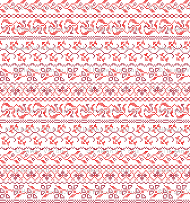 flower cross stich in red