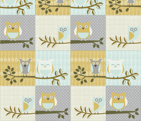 City Park Owls - Patchwork fabric by piccadillylily on Spoonflower - custom fabric