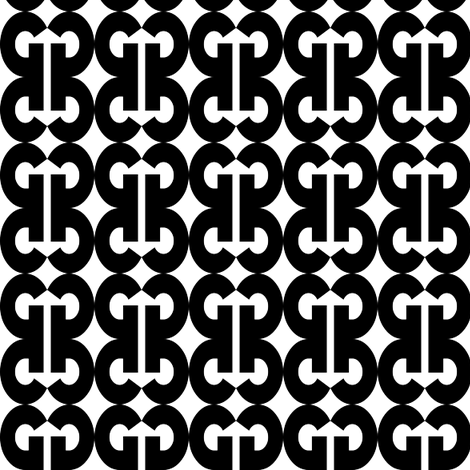 Bold G - Black and White fabric by telden on Spoonflower - custom fabric