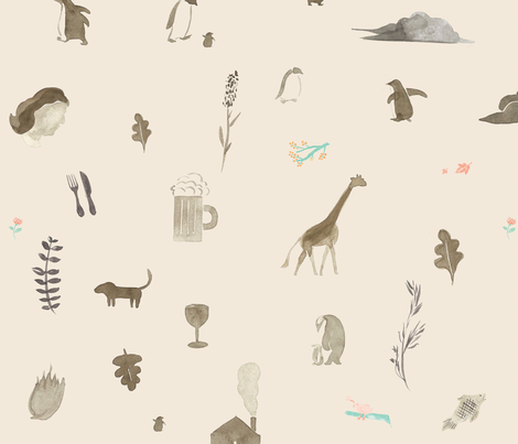 beige_coucou fabric by doran on Spoonflower - custom fabric
