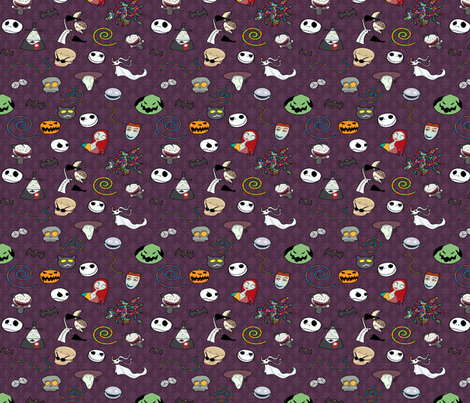 Nightmare Before Christmas Collection Purple fabric by kyatastic on Spoonflower - custom fabric