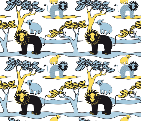 Lion Lamb Blue/Yellow fabric by vannina on Spoonflower - custom fabric