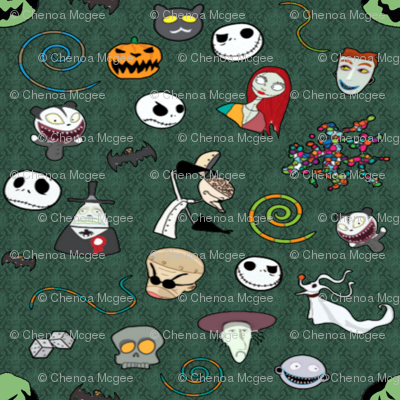 Nightmare Before Christmas Collage Green