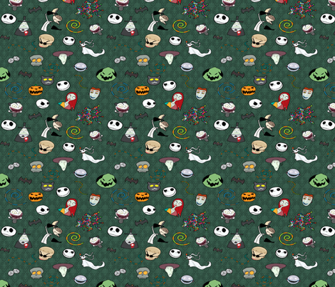 Nightmare Before Christmas Collage Green fabric by geekycuties on Spoonflower - custom fabric