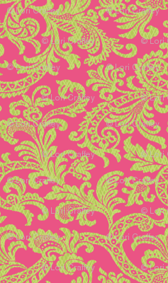 Damask Scroll Preppy Pink