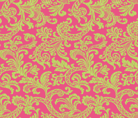 Damask Scroll Preppy Pink fabric by littlerhodydesign on Spoonflower - custom fabric