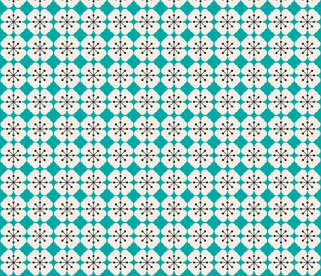 farmhouse_flowerbed_aqua fabric by holli_zollinger on Spoonflower - custom fabric