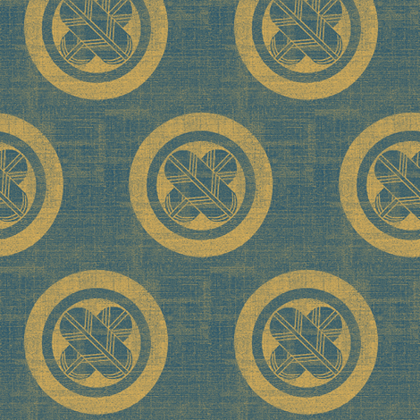 Falcon Feather Kamon/Crest - denim and yellow/gold fabric by materialsgirl on Spoonflower - custom fabric