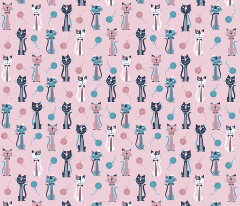 Retro Pink Cats fabric by edmillerdesign on Spoonflower - custom fabric