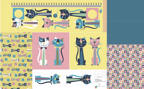 Retro Cats Bedroom Accessories fabric by edmillerdesign on Spoonflower - custom fabric