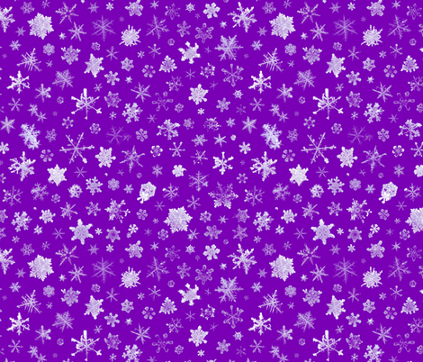 photographic snowflakes on purple