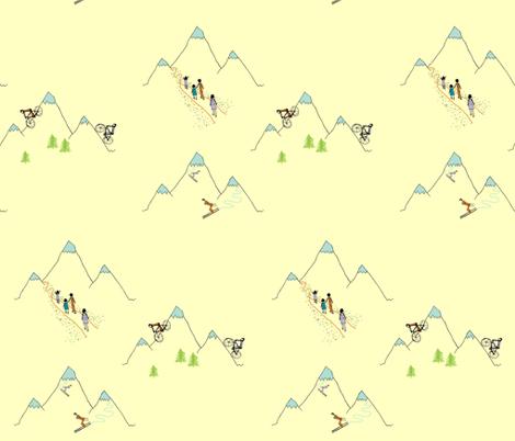 Mountain play (in custard) fabric by calmcradle on Spoonflower - custom fabric