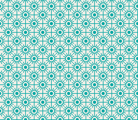 farmhouse_garden_aqua fabric by holli_zollinger on Spoonflower - custom fabric