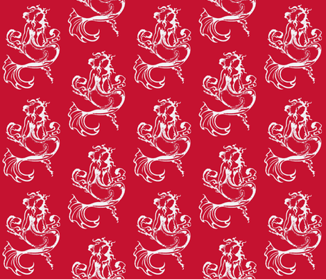 Sitting Pretty Mermaid6-reds/white fabric by guylas_coastal_creations on Spoonflower - custom fabric