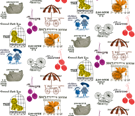 Central Park Zoo fabric by peacoquettedesigns on Spoonflower - custom fabric