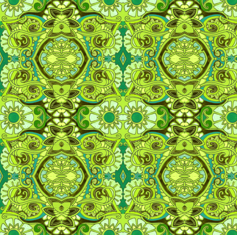 Oh My Flowery Stars (green pop art garden) fabric by edsel2084 on Spoonflower - custom fabric