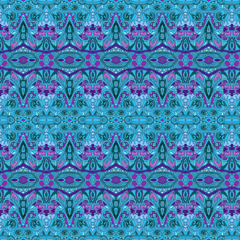 Scallop Border in Order (very blue small scale horizontal stripe) fabric by edsel2084 on Spoonflower - custom fabric