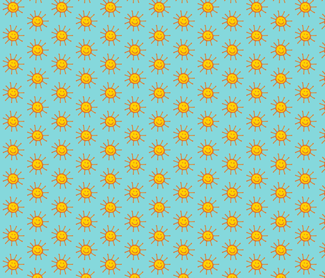 Happy Suns in Aqua fabric by kbexquisites on Spoonflower - custom fabric