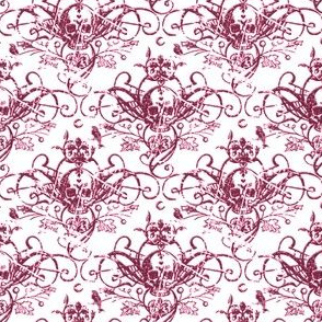 Raven Skull Damask Pink