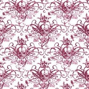 Raven Skull Damask Pink