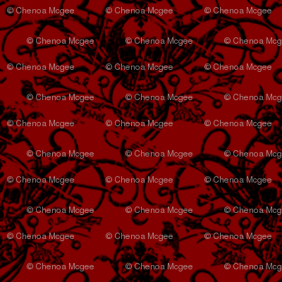 Raven Skull Damask Red and Black