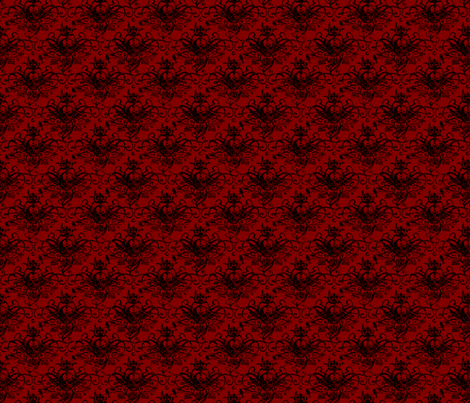 Raven Skull Damask Red and Black fabric by kyatastic on Spoonflower - custom fabric