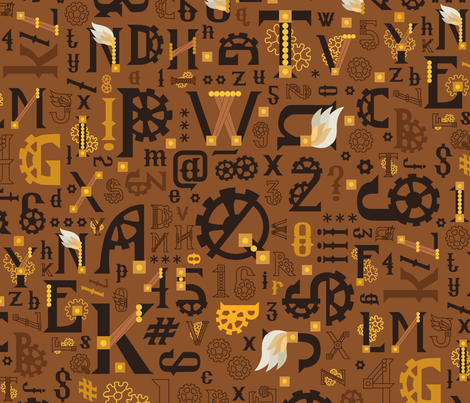 Steampunk_Alphabet_Gold fabric by urban_threads on Spoonflower - custom fabric